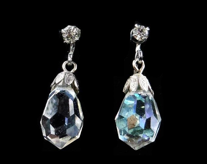 Vintage Faceted Rhinestone Paste Silver Drop Earrings | Screw Back | Art Deco 1920's - 30's