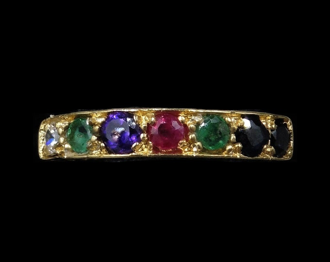 DEAREST Acrostic Multi Gemstone 18ct Gold Gilded Ring Band | REGARD DEAREST Ring | Antique Victorian Style