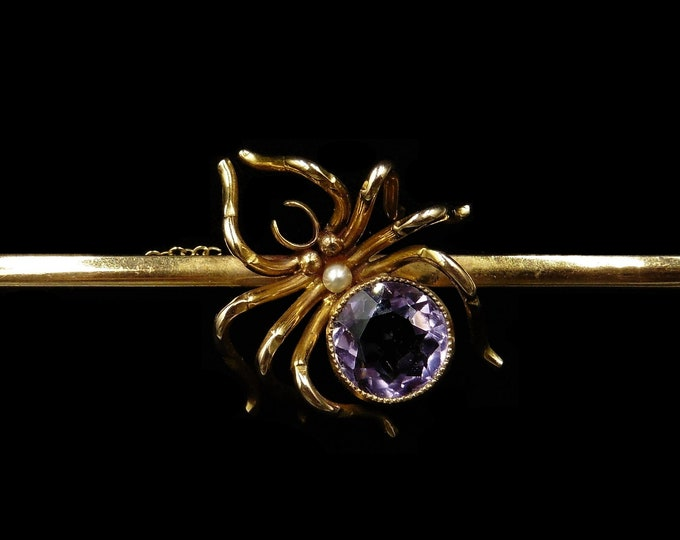 Antique Victorian Large Amethyst and Pearl 9ct 9k Yellow Gold Spider Insect Bar Brooch   C.1890