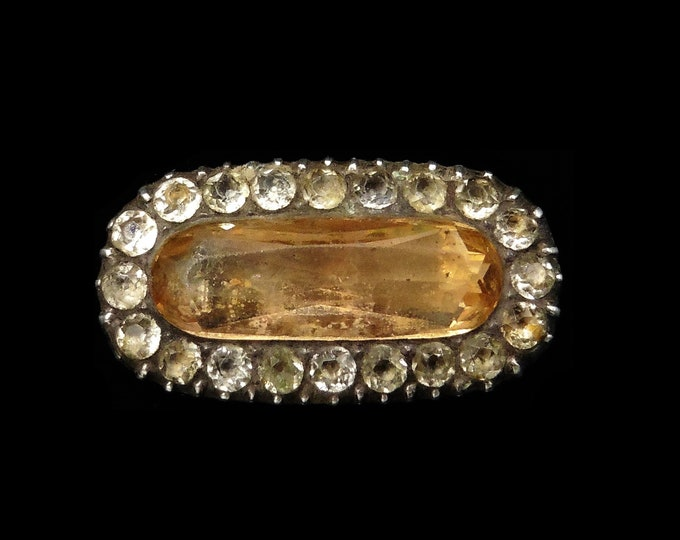 Antique Georgian Yellow Paste Rectangle Halo Gold and Silver Lace Pin Brooch   Circa.1820
