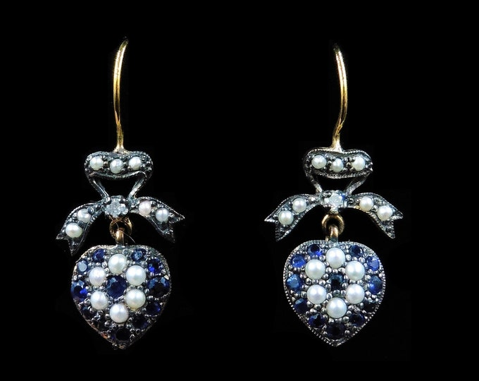 Blue Sapphire Diamond and Pearl Heart and Bow 18ct 18K Gold Drop Dangle Earrings   Antique Victorian Style