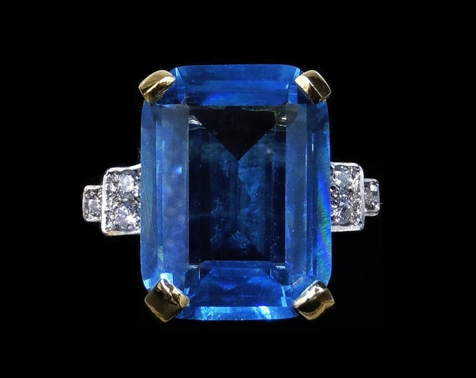 Blue Aquamarine Glass Paste Emerald Step Cut 18ct Gold Gilded Silver Ring | Art Deco Style