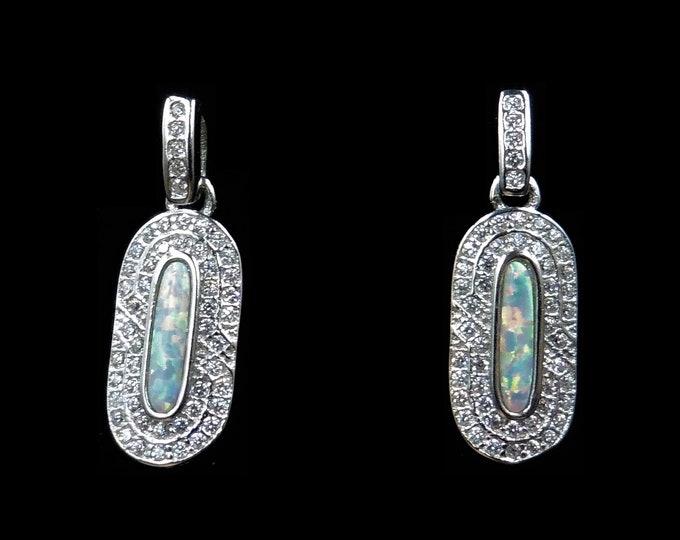 Opal and Paste Drop Sterling Silver Earrings | Art Deco Style