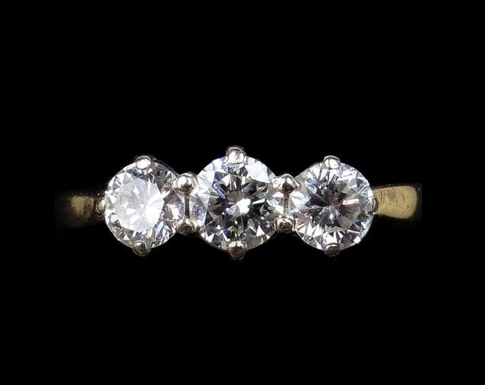 0.70ct Diamond Three Stone Trilogy 18ct 18k Yellow Gold Ring | Engagement Ring | Vintage 1991