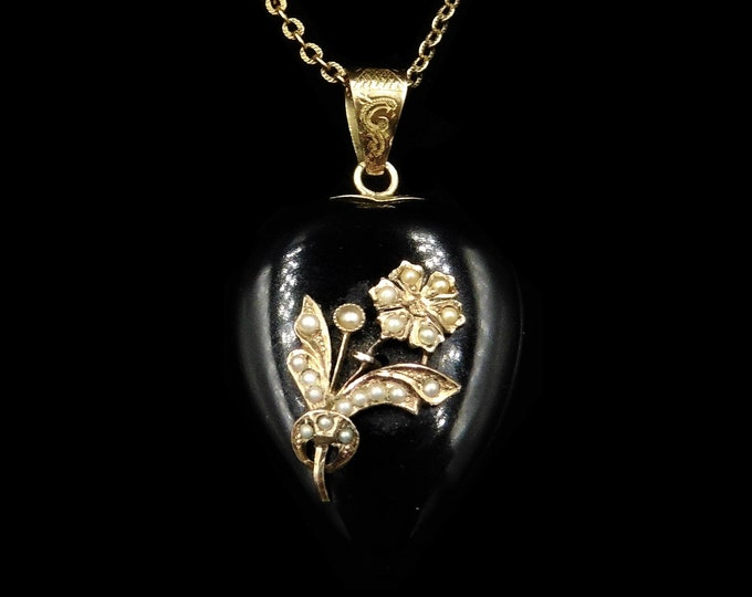Antique Victorian Large Onyx Heart Pearl Flower 15ct 15K Gold Locket and Chain Necklace | Circa.1880