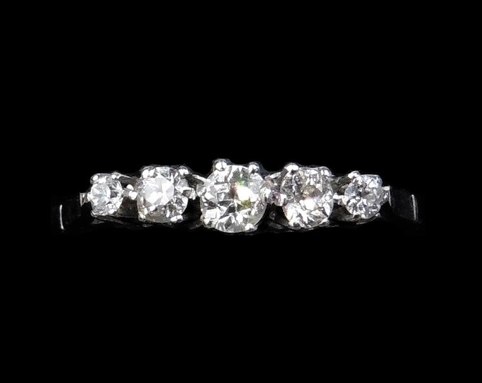 Antique Old Cut Diamond Five Stone 18ct 18K White Gold Ring | 0.50ct total | Circa.1910