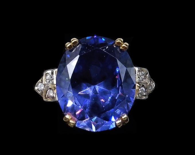 Oval Blue Sapphire Paste 18ct 18K Gold Gilded Silver Cocktail Dress Ring | Art Deco Style