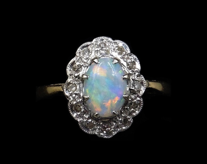 Antique Natural Opal and Diamond Oval Halo Cluster 18ct 18K Yellow Gold Ring   Opal Engagement   C.1920