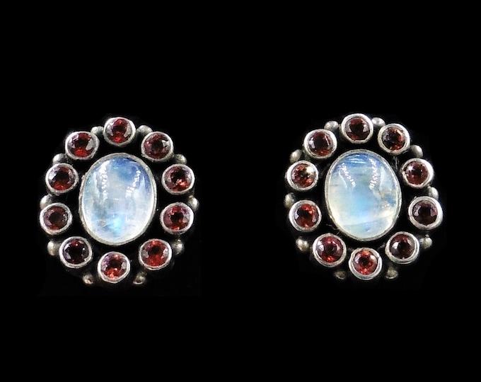 Moonstone and Garnet Cluster Flower Sterling Silver Stud Earrings | Vintage