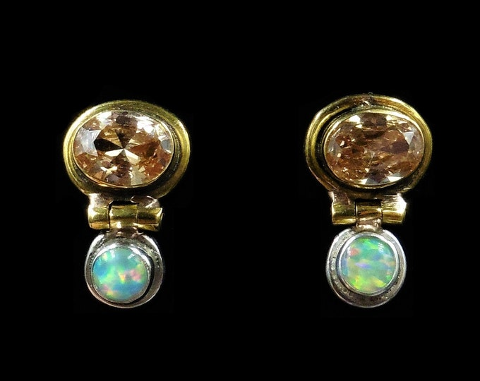 Opal and Paste Drop Gold on Sterling Silver Earrings | Vintage
