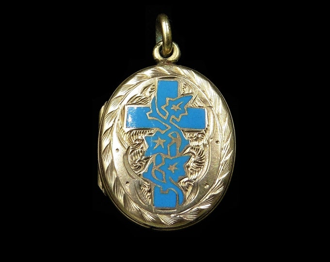 Antique Victorian Blue Enamel Cross Ivy Mourning 9ct Gold Oval Locket Pendant | Circa.1880