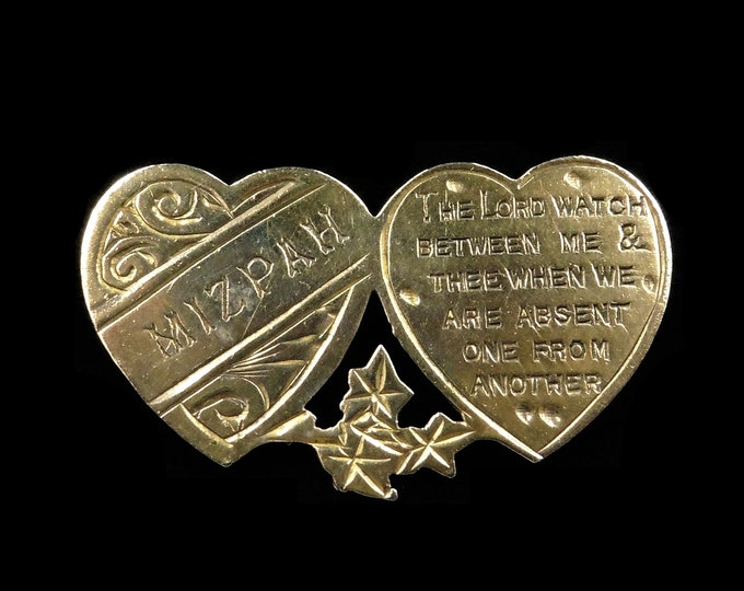 Antique Victorian Mizpah Sweetheart Heart Rolled Gold Brooch Pin | C.1880