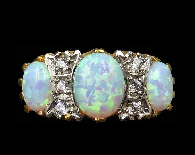 Opal and Paste Large Scroll Statement 18ct Yellow Gold on Silver Ring   Antique Victorian Style