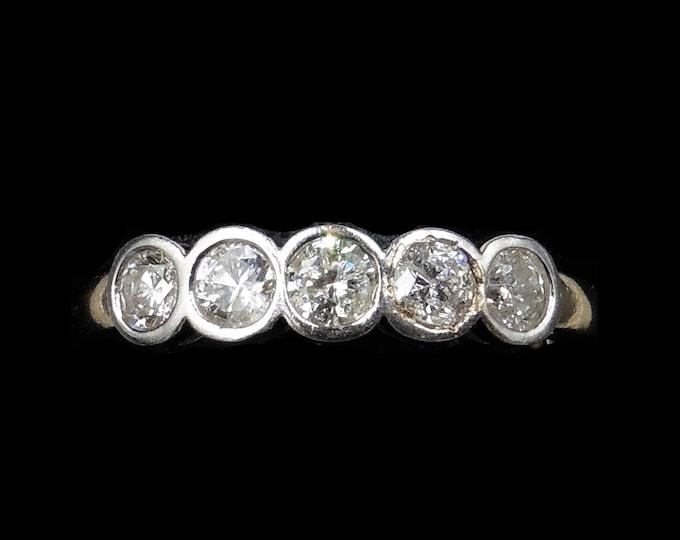Diamond Bezel Set Five Stone 18ct 18K Yellow Gold Ring Band | 0.50ct Total