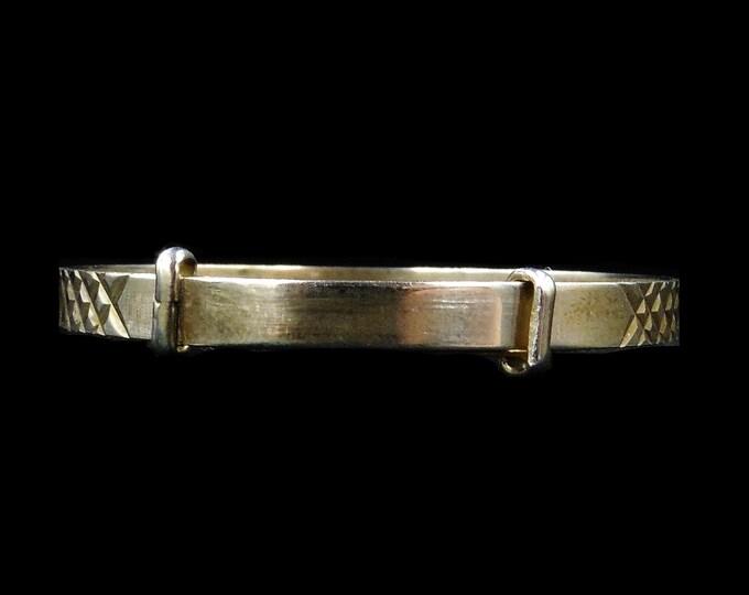 Vintage Sterling Silver Engraved Fancy Baby Bangle | Christening Bangle