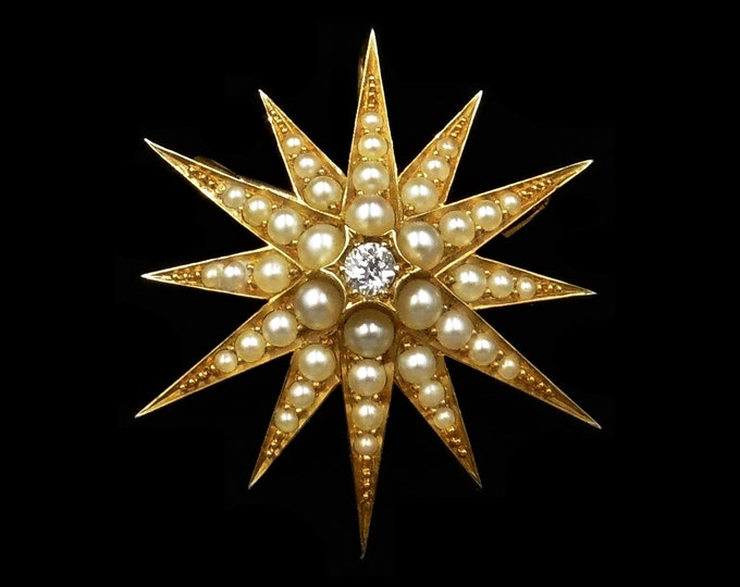 Antique Victorian Old Cut Diamond and Pearl 12 Point Star 15ct 15K Yellow Gold Brooch and Pendant | Circa.1890