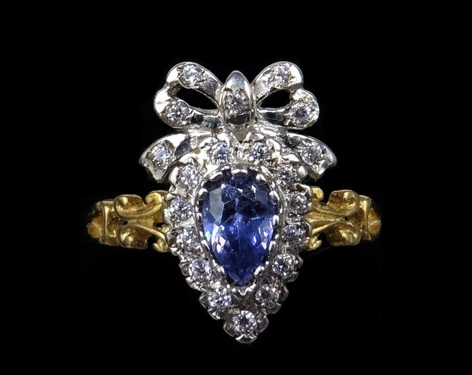 Blue Sapphire Paste Heart Bow 18ct 18K Yellow Gold Gilded Silver Ring | Antique Style