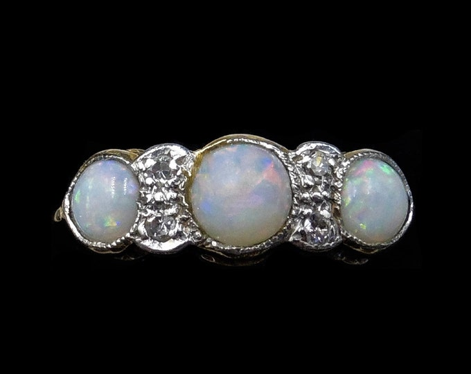 Antique Natural Opal and Old Cut Diamond Trilogy 18ct 18K Yellow Gold Ring   Bezel Set Opal Band   Circa.1905