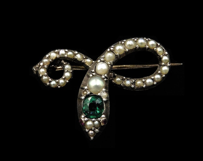 Antique Victorian Emerald Green Paste and Pearl Snake Serpent Gold Gilded Silver Brooch Pin | Circa.1880