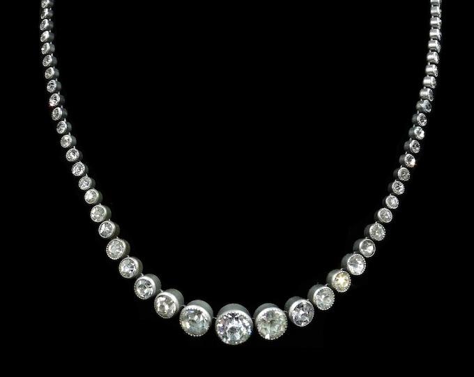 "Art Deco Old Cut Paste Silver Short Riviere Necklace Choker | Circa.1920-30 | 15"""