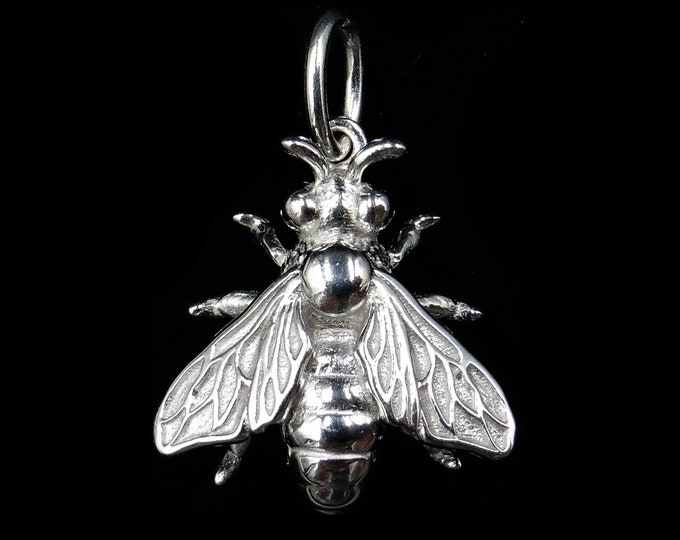 Honey Bee Insect Bug Sterling Silver Drop Pendant Charm | Antique Victorian Style