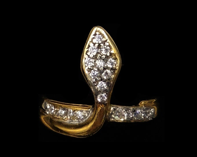 Sparkling Paste Snake Serpent 18ct Gold Gilded Silver Ring   Antique Victorian Style