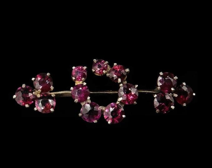Antique Pink Tourmaline Silver Gilt Horseshoe Bar Brooch Pin   Edwardian Deco