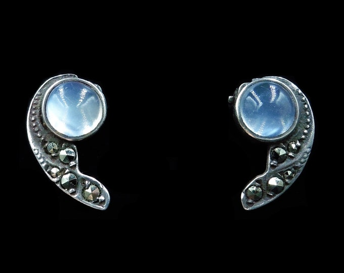 Antique Moonstone and Marcasite Sterling Silver Clip-On Earrings   Art Deco Circa.1920