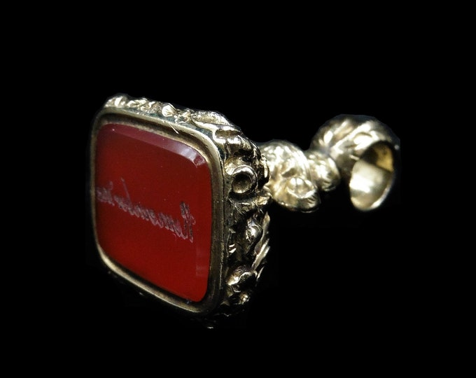 "Antique ""Remember Me"" Carnelian Agate Intaglio Gold Cased Fob Seal Pendant Charm 