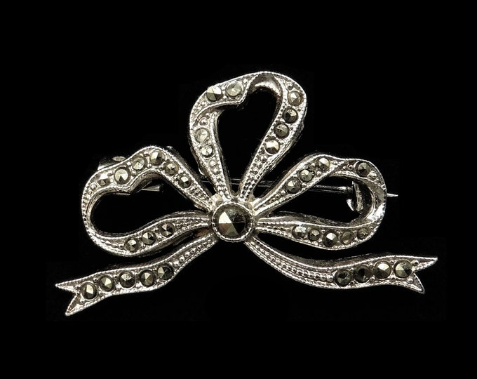 Antique Marcasite Silver Bow Ribbon Brooch Pin | Vintage Edwardian c.1910