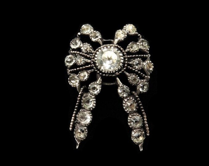 Antique Georgian Old Cut Paste Sterling Silver Bow Ribbon Brooch Pin | c.1820