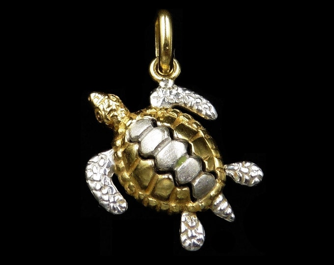 Vintage 18ct 18K White and Yellow Gold Turtle Pendant Charm
