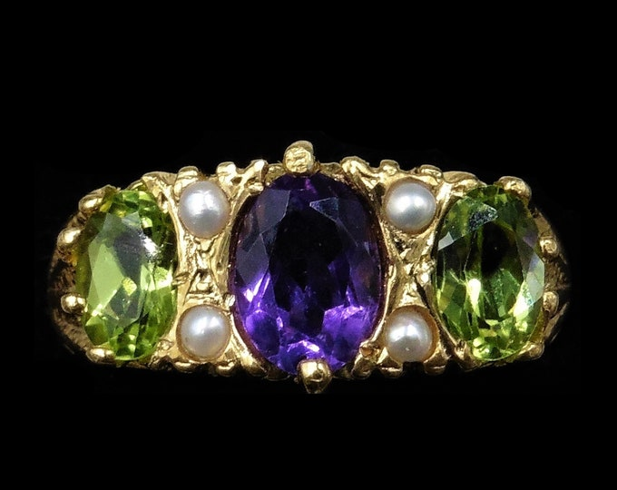 Amethyst Peridot and Pearl Trilogy Scroll 18ct 18K Yellow Gold on Silver Ring | Antique Suffragette Style