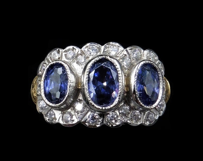 RESERVED | Blue Sapphire Paste Trilogy Three Stone Cluster 18ct 18K Gold Gilded Silver Cocktail Ring | Antique Style