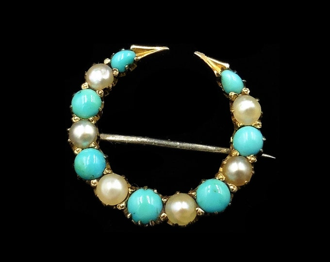 Antique Victorian Turquoise and Pearl Crescent Moon 15ct 15K Yellow Gold Brooch Pin | Circa. 1890