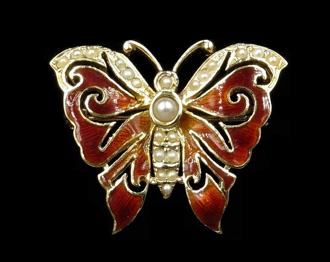 Vintage Red Enamel and Pearl 9ct 9K Yellow Gold Butterfly Brooch and Pendant | London 1977