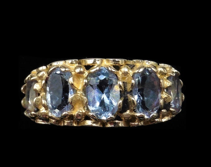 Blue Topaz Five Stone Scroll 9ct 9K Yellow Gold Ring | Antique Victorian Style