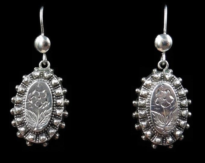 Antique Victorian Sterling Silver Oval Floral Aesthetic Drop Dangle Earrings | Birmingham 1882