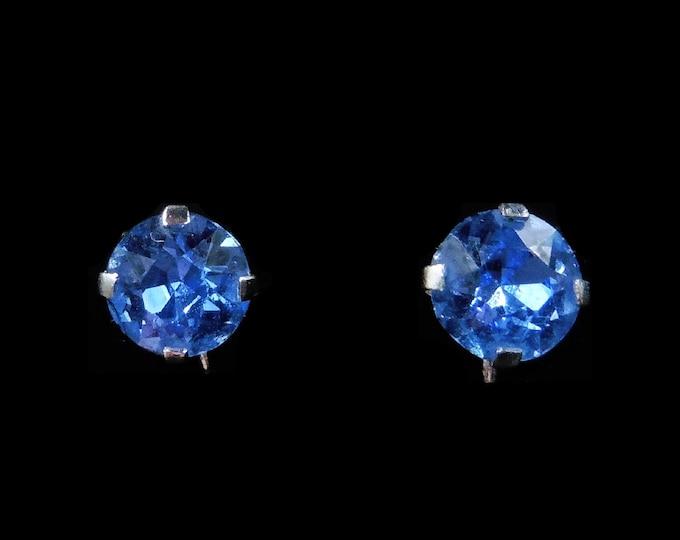 Vintage Blue Paste Stud Silver Screw Back Earrings | Antique Art Deco 1920's - 30's