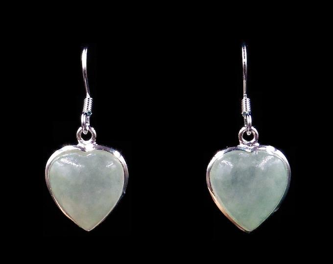 Green Jade Jadeite Love Heart Sterling Silver Drop Dangle Earrings