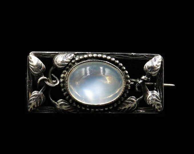 Antique Arts and Crafts Moonstone Sterling Silver Brooch Pin | Victorian C.1900