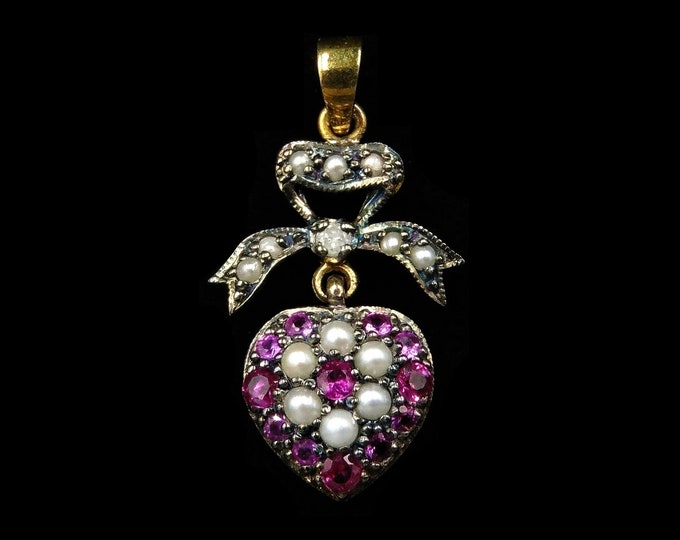 Ruby Pearl and Diamond Heart Bow Drop 18ct Yellow Gold Pendant | Antique Victorian Style