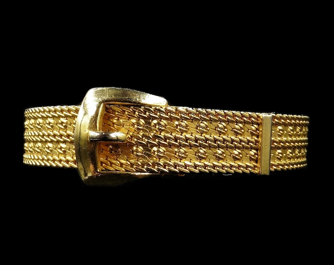 Vintage Buckle Fancy Gold Fill Chain Bangle Bracelet | Art Deco c.1940