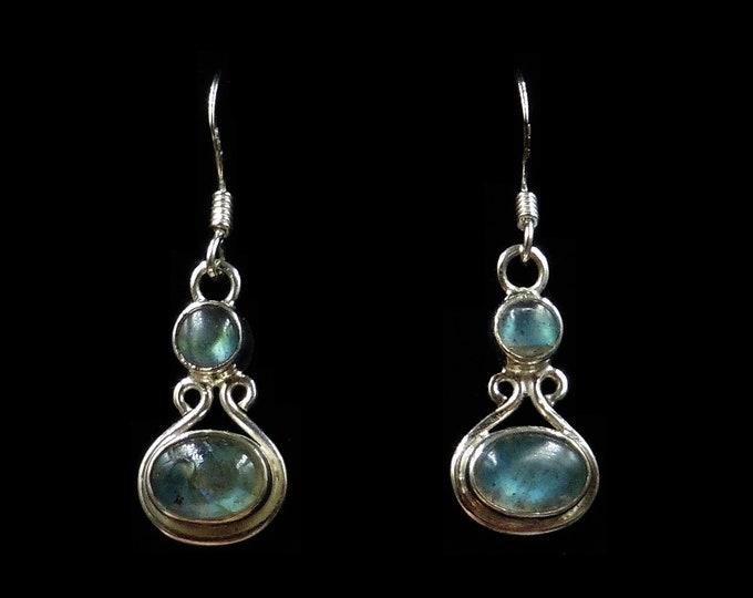 Vintage Blue Rainbow Moonstone Sterling Silver Drop Earrings