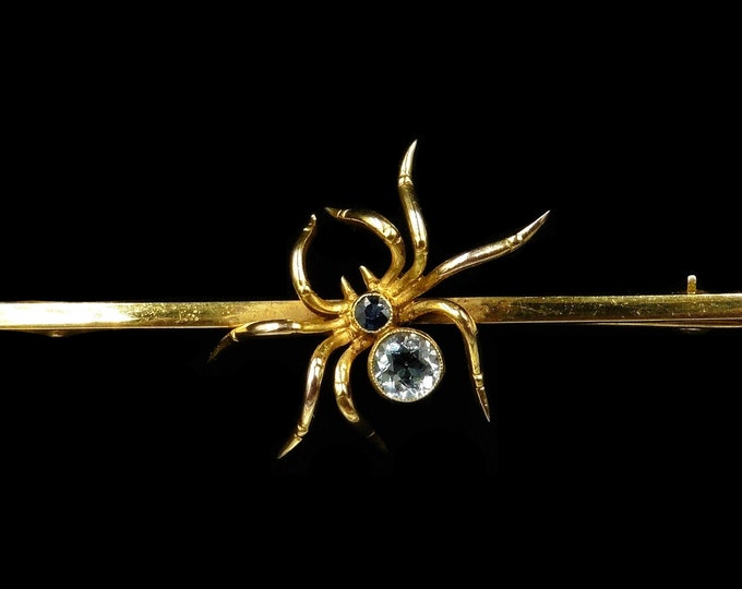 Antique Victorian Aquamarine and Sapphire 9ct 9k Yellow Gold Spider Insect Bar Brooch   C.1890