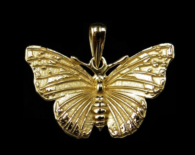 Admiral Butterfly 18ct Yellow Gold Gilded Silver Insect Drop Pendant | Antique Vintage Style