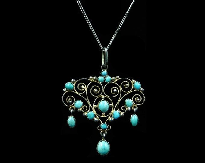 Antique Victorian Turquoise Gold Gilt Silver Lavalier Pendant and Chain Necklace | Austro- Hungarian c.1890