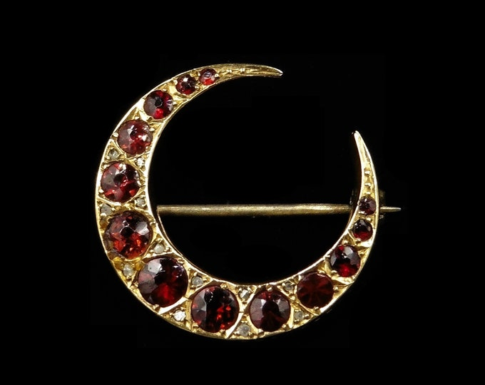 Antique Garnet and Diamond 9ct 9K Yellow Gold Crescent Moon Celestial Brooch Pin   Chester 1912