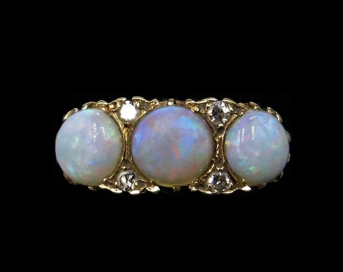 Antique Natural Opal and Old Cut Diamond Trilogy 18ct 18K Yellow Gold Ring | Victorian Scroll
