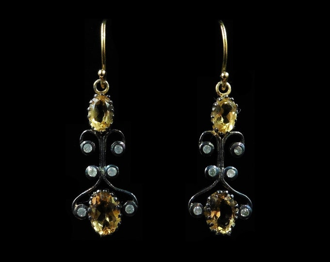 Citrine and Diamond 18ct 18K Gold Drop Dangle Earrings | Antique Style